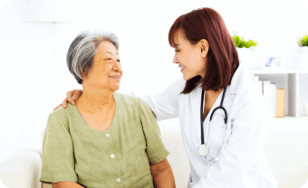 old woman and caregiver